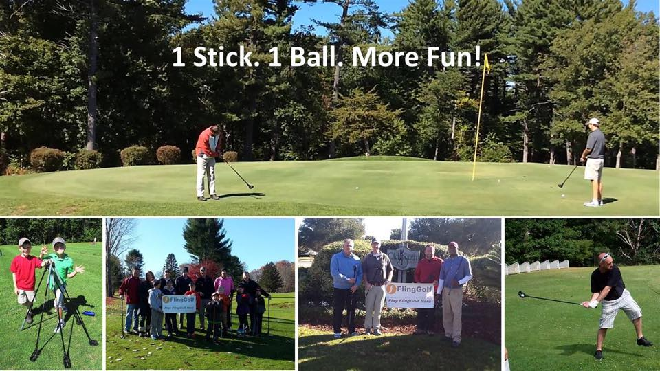 """people playing fling golf with words """"1 stick. 1 ball. More fun!"""""""