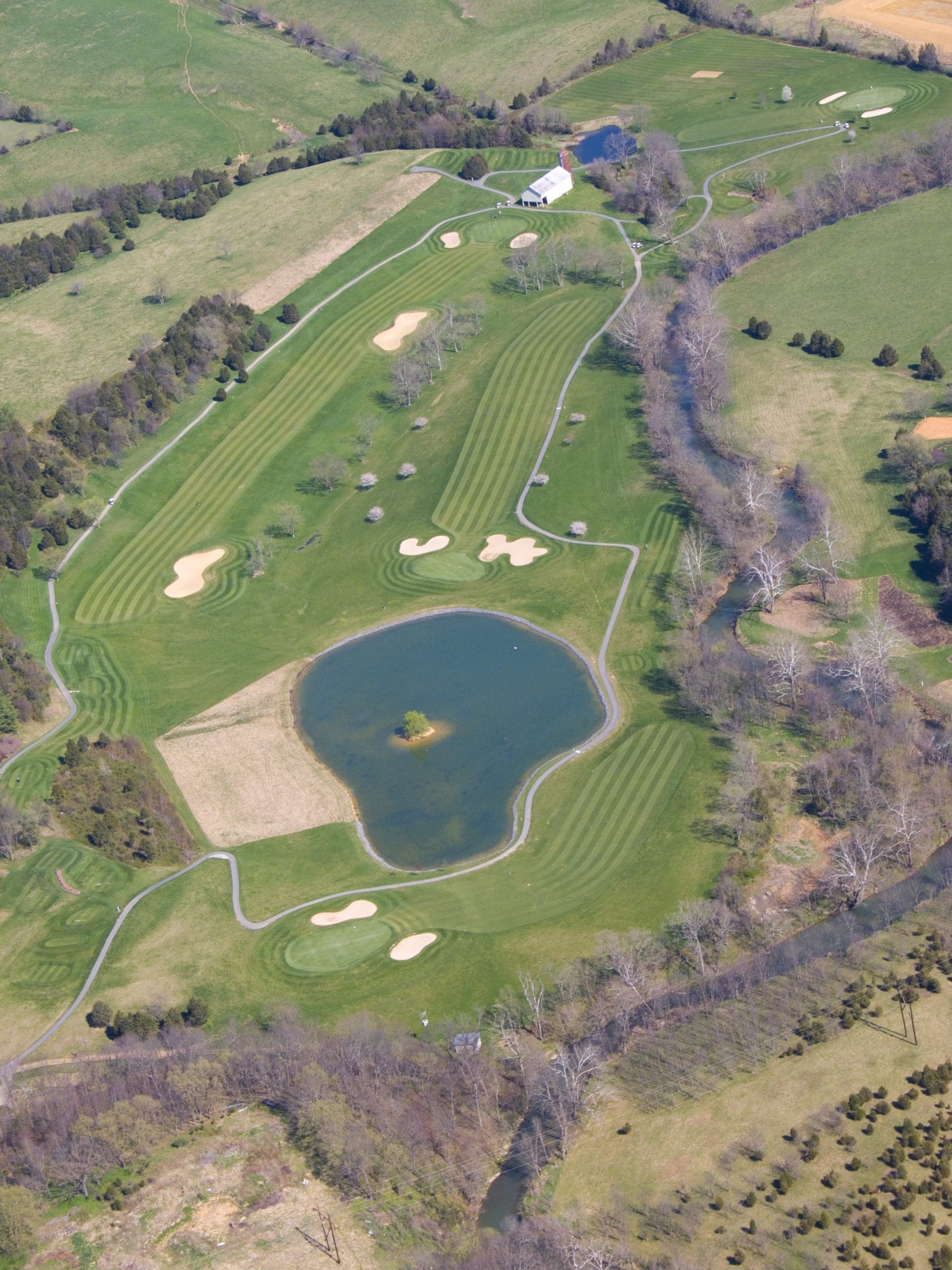 sky view of golf course