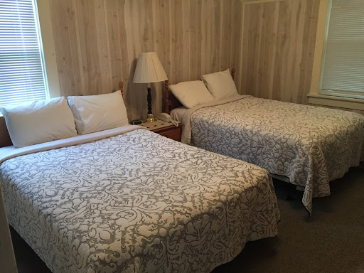two large beds and lamp